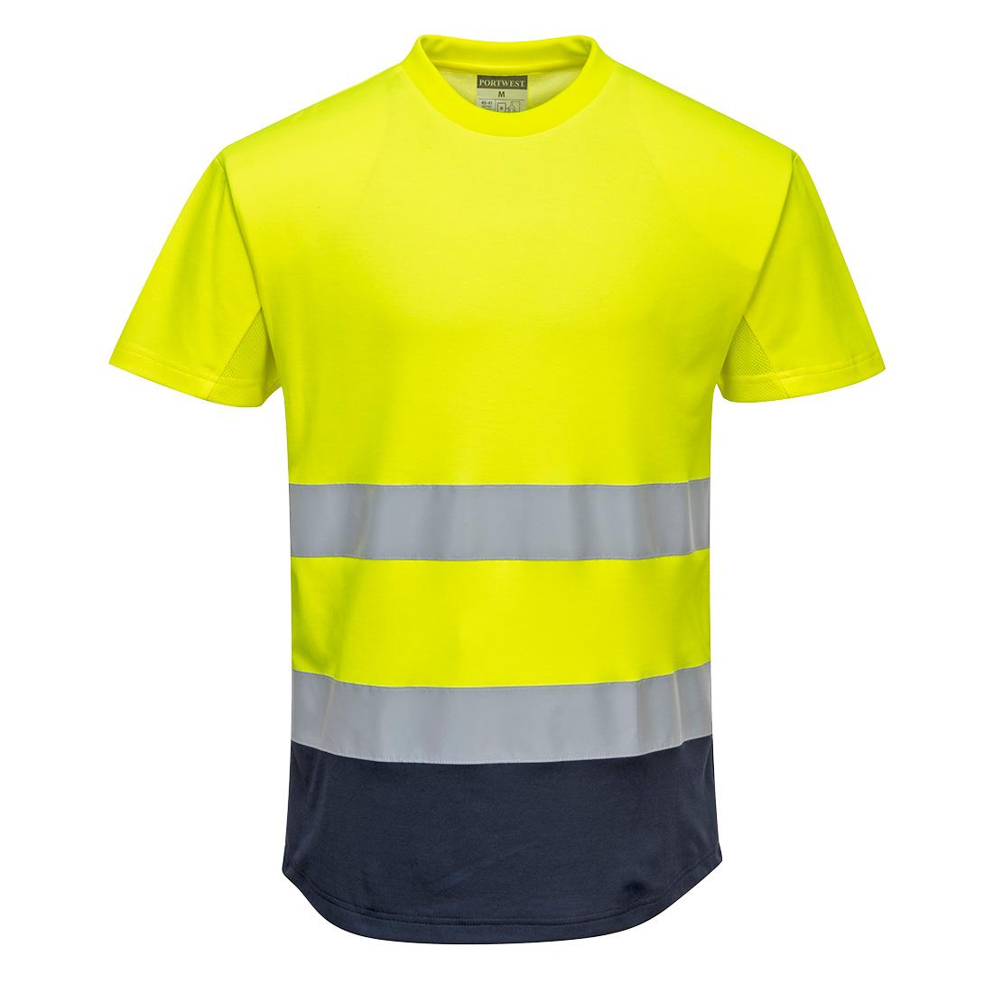 Hi-Vis 2-Tone Mesh T-Shirt Yellow/Navy SR