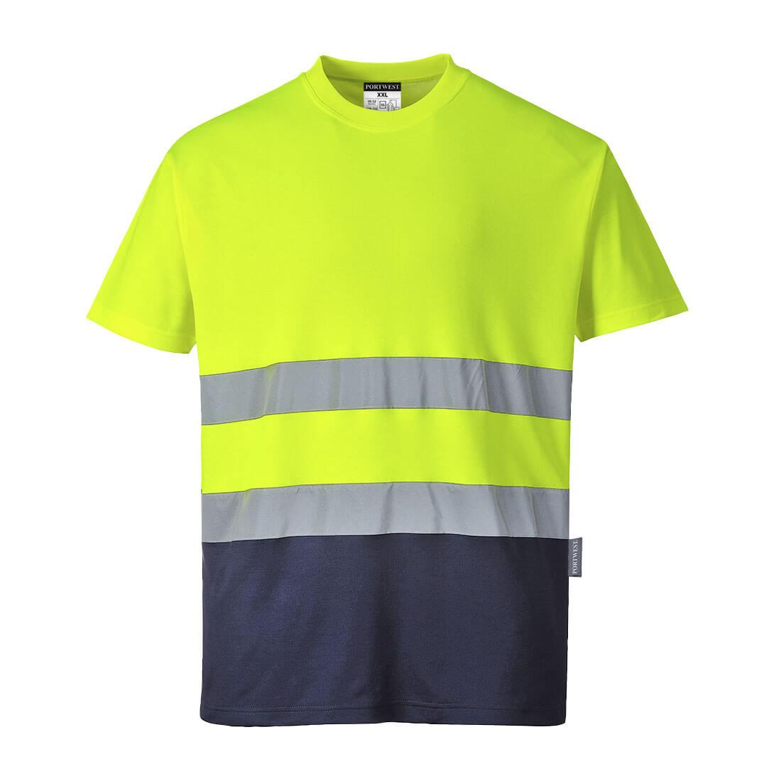 2-Tone Cotton Comfort T-Shirt Yellow/Navy LR