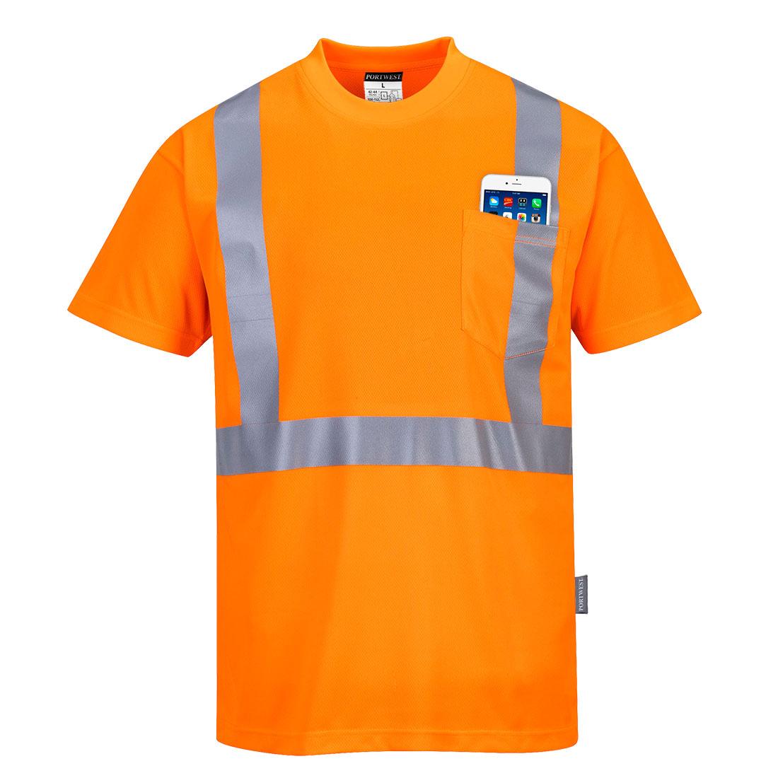 Hi-Vis Pocket T-Shirt Orange 4XLR