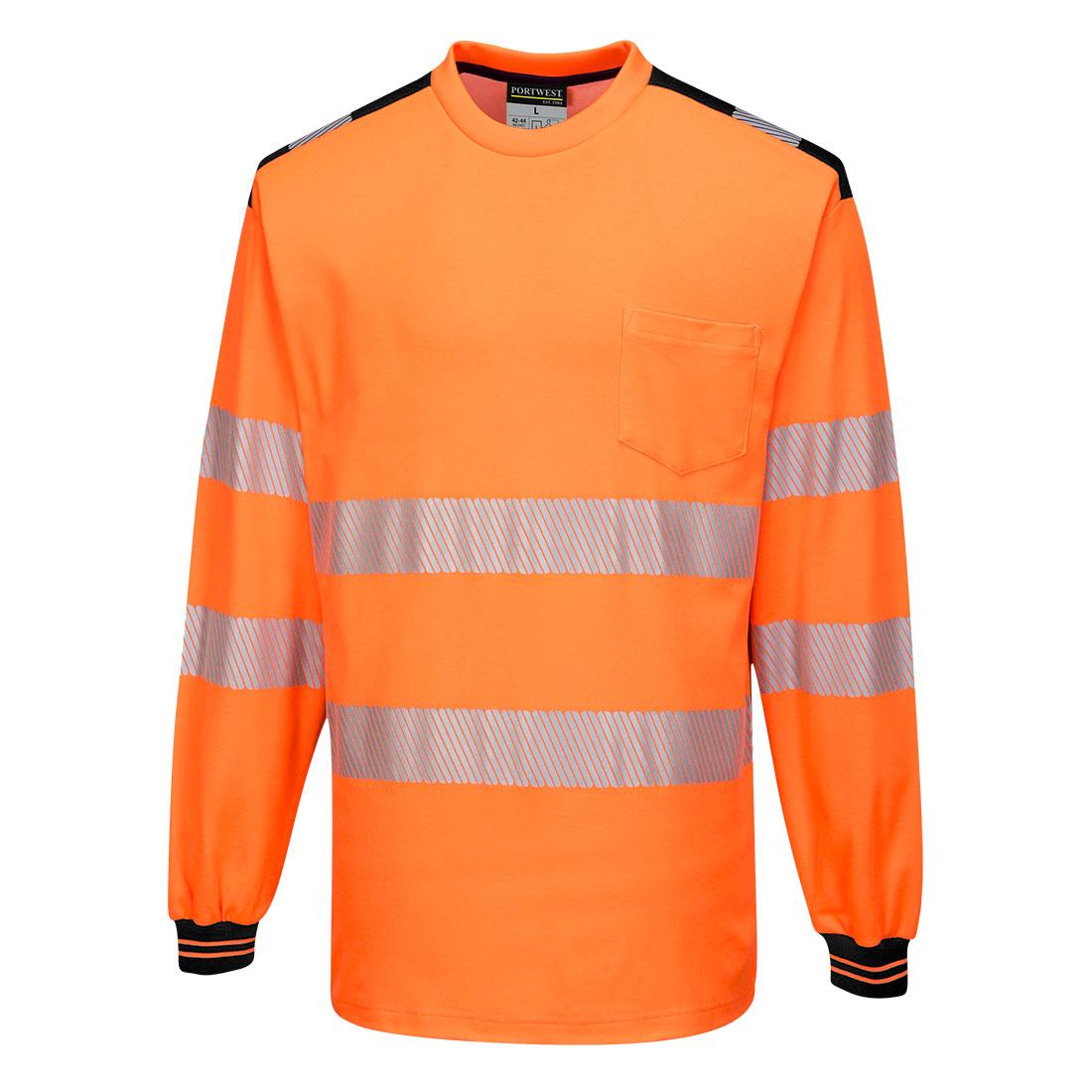 PW3 Hi-Vis T-Shirt  L/S Orange/Black SR